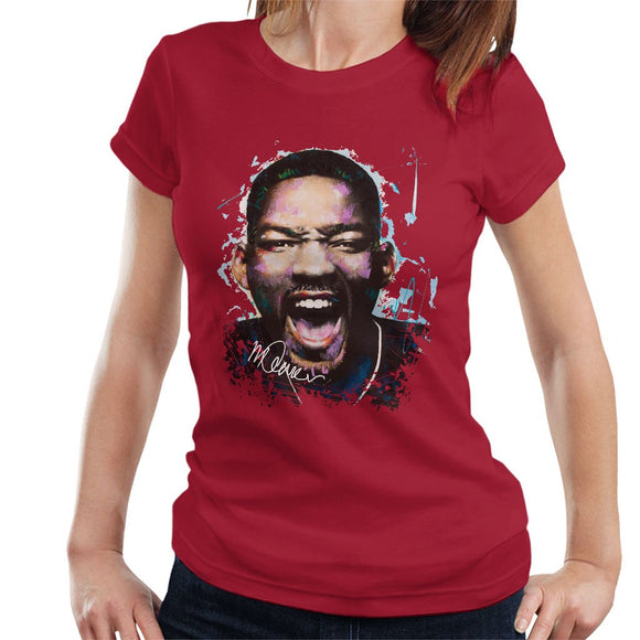Sidney Maurer Original Portrait Of Will Smith Womens T-Shirt - Womens T-Shirt