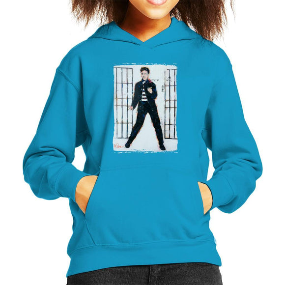 Sidney Maurer Original Portrait Of Elvis Presley Jailhouse Rock Kids Hooded Sweatshirt - Kids Boys Hooded Sweatshirt