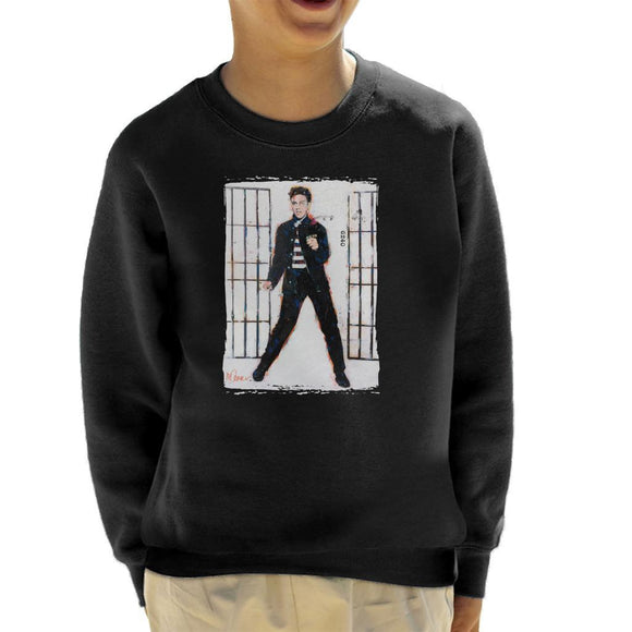 Sidney Maurer Original Portrait Of Elvis Presley Jailhouse Rock Kids Sweatshirt - Kids Boys Sweatshirt