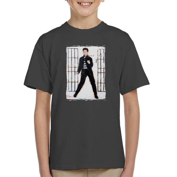 Sidney Maurer Original Portrait Of Elvis Presley Jailhouse Rock Kids T-Shirt - Kids Boys T-Shirt