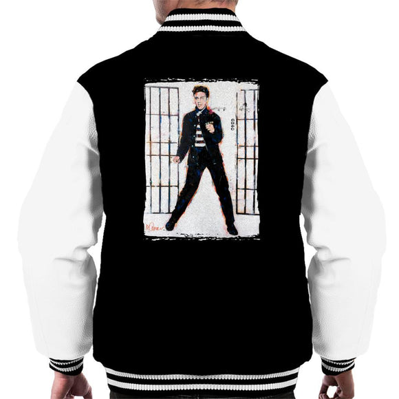 Sidney Maurer Original Portrait Of Elvis Presley Jailhouse Rock Mens Varsity Jacket - Mens Varsity Jacket
