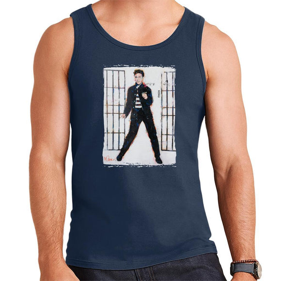 Sidney Maurer Original Portrait Of Elvis Presley Jailhouse Rock Mens Vest - Mens Vest