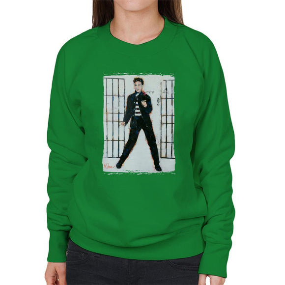 Sidney Maurer Original Portrait Of Elvis Presley Jailhouse Rock Womens Sweatshirt - Womens Sweatshirt