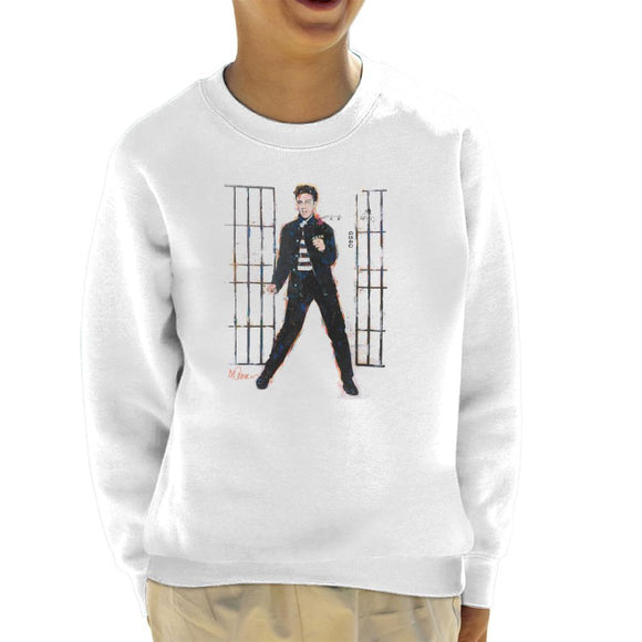 Sidney Maurer Original Portrait Of Elvis Presley Dark Jailhouse Rock Kids Sweatshirt - Kids Boys Sweatshirt