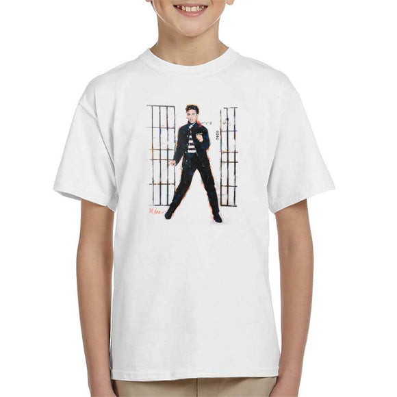 Sidney Maurer Original Portrait Of Elvis Presley Dark Jailhouse Rock Kids T-Shirt - Kids Boys T-Shirt