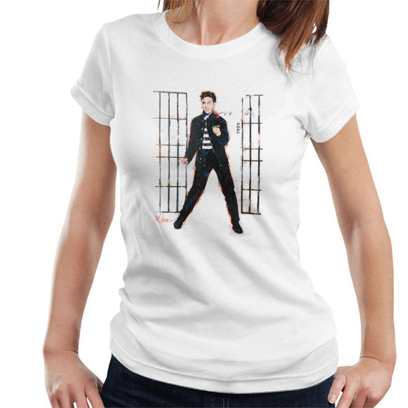 Sidney Maurer Original Portrait Of Elvis Presley Dark Jailhouse Rock Womens T-Shirt - Womens T-Shirt