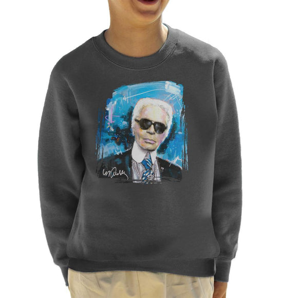 Sidney Maurer Original Portrait Of Karl Lagerfeld Kids Sweatshirt - Kids Boys Sweatshirt