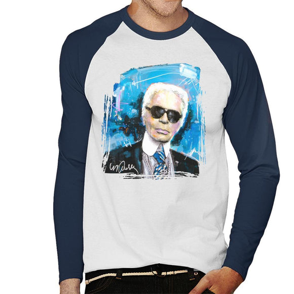 Sidney Maurer Original Portrait Of Karl Lagerfeld Mens Baseball Long Sleeved T-Shirt - Mens Baseball Long Sleeved T-Shirt
