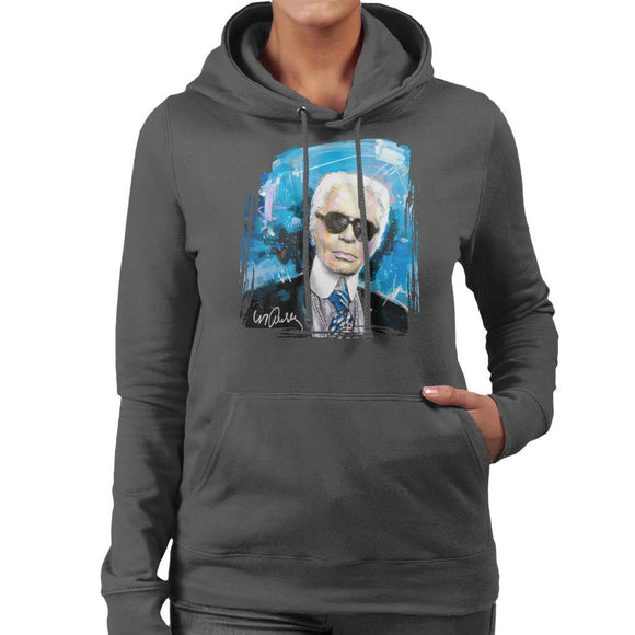 Sidney Maurer Original Portrait Of Karl Lagerfeld Womens Hooded Sweatshirt - Womens Hooded Sweatshirt