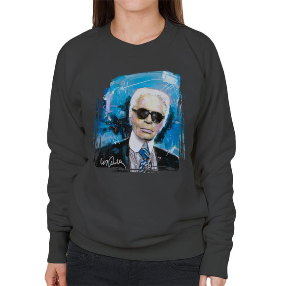 Sidney Maurer Original Portrait Of Karl Lagerfeld Womens Sweatshirt - Womens Sweatshirt