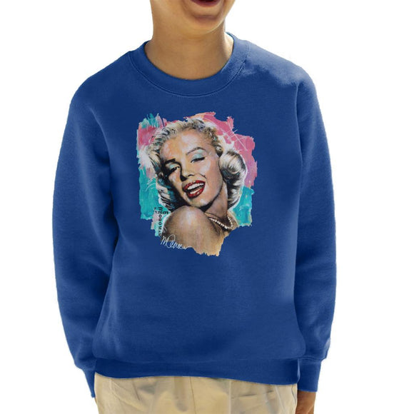 Sidney Maurer Original Portrait Of Marilyn Monroe Lipstick Kids Sweatshirt - Kids Boys Sweatshirt