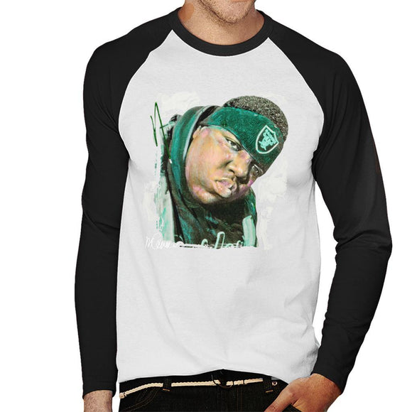 Sidney Maurer Original Portrait Of Notorious BIG Mens Baseball Long Sleeved T-Shirt - Mens Baseball Long Sleeved T-Shirt