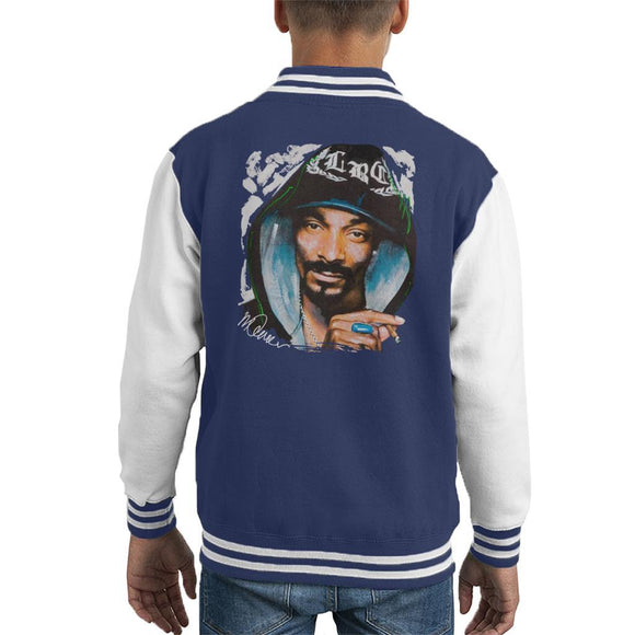 Sidney Maurer Original Portrait Of Snoop Dogg Smoking Kids Varsity Jacket - Kids Boys Varsity Jacket