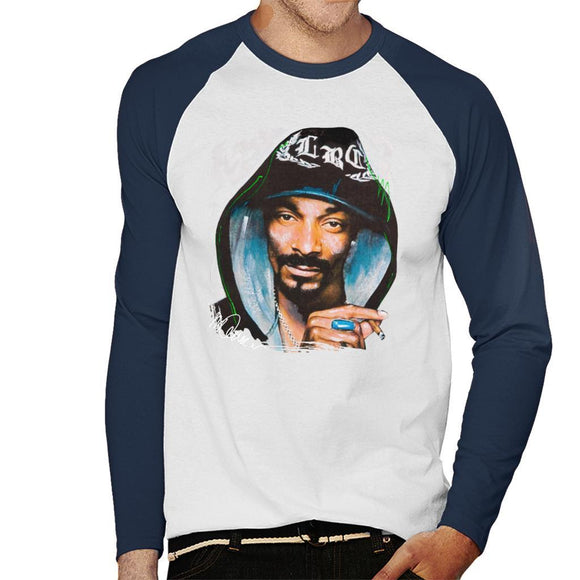 Sidney Maurer Original Portrait Of Snoop Dogg Smoking Mens Baseball Long Sleeved T-Shirt - Mens Baseball Long Sleeved T-Shirt