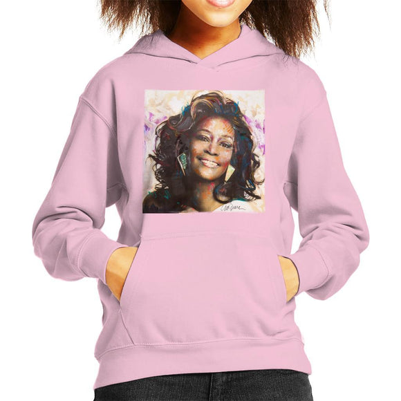 Sidney Maurer Original Portrait Of Whitney Houston Triangle Earrings Kids Hooded Sweatshirt - Kids Boys Hooded Sweatshirt