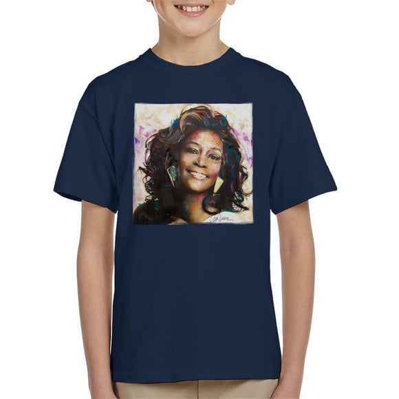 Sidney Maurer Original Portrait Of Whitney Houston Triangle Earrings Kids T-Shirt - Kids Boys T-Shirt