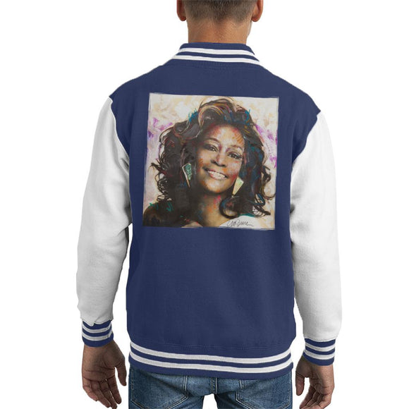 Sidney Maurer Original Portrait Of Whitney Houston Triangle Earrings Kids Varsity Jacket - Kids Boys Varsity Jacket