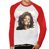 Sidney Maurer Original Portrait Of Whitney Houston Triangle Earrings Mens Baseball Long Sleeved T-Shirt - Mens Baseball Long Sleeved T-Shirt