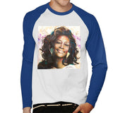 Sidney Maurer Original Portrait Of Whitney Houston Triangle Earrings Mens Baseball Long Sleeved T-Shirt - Small / White/Royal - Mens