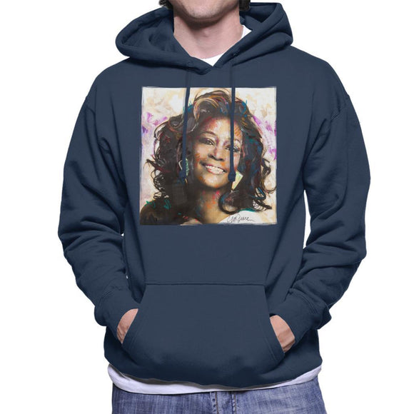 Sidney Maurer Original Portrait Of Whitney Houston Triangle Earrings Mens Hooded Sweatshirt - Mens Hooded Sweatshirt