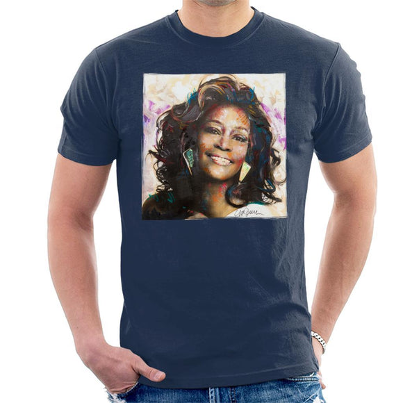 Sidney Maurer Original Portrait Of Whitney Houston Triangle Earrings Mens T-Shirt - Mens T-Shirt