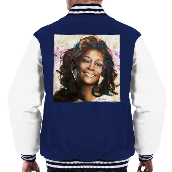 Sidney Maurer Original Portrait Of Whitney Houston Triangle Earrings Mens Varsity Jacket - Mens Varsity Jacket