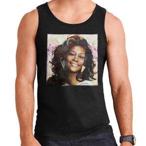 Sidney Maurer Original Portrait Of Whitney Houston Triangle Earrings Mens Vest - Mens Vest