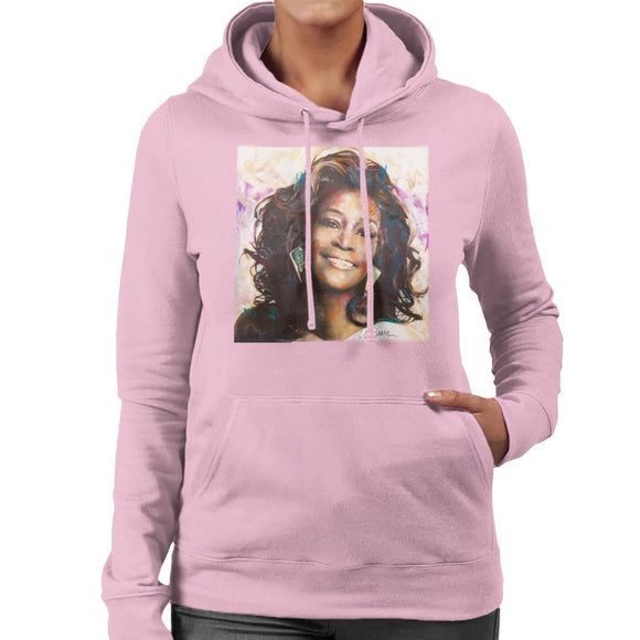 Sidney Maurer Original Portrait Of Whitney Houston Triangle Earrings Womens Hooded Sweatshirt - Womens Hooded Sweatshirt