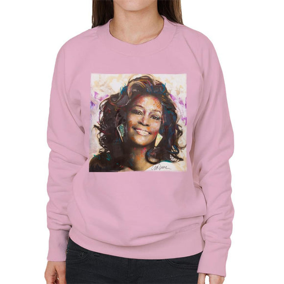 Sidney Maurer Original Portrait Of Whitney Houston Triangle Earrings Womens Sweatshirt - Womens Sweatshirt