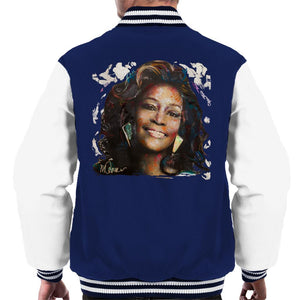 Sidney Maurer Original Portrait Of Whitney Houston White Mens Varsity Jacket - Mens Varsity Jacket