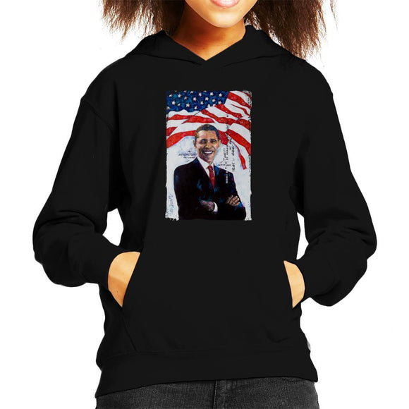 Sidney Maurer Original Portrait Of Barack Obama Kids Hooded Sweatshirt - Kids Boys Hooded Sweatshirt