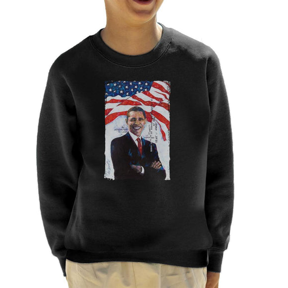 Sidney Maurer Original Portrait Of Barack Obama Kids Sweatshirt - Kids Boys Sweatshirt