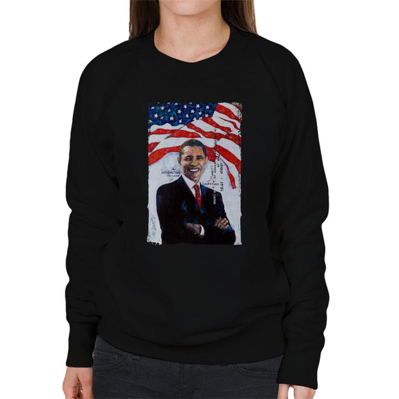 Sidney Maurer Original Portrait Of Barack Obama Womens Sweatshirt - Womens Sweatshirt
