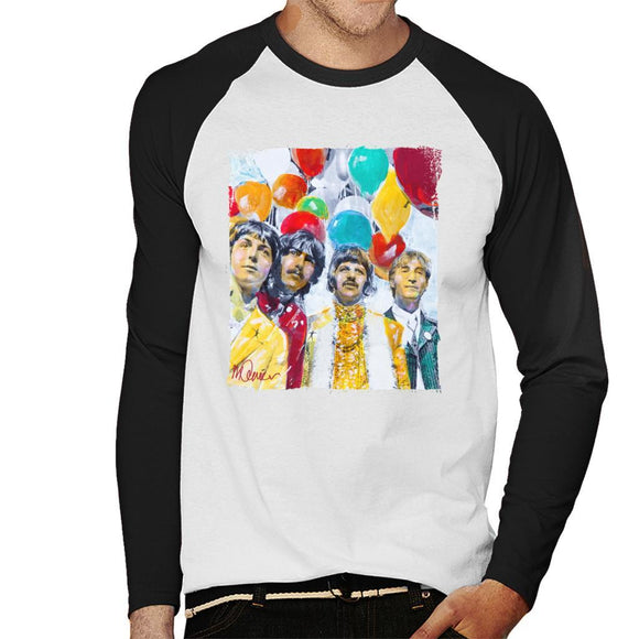 Sidney Maurer Original Portrait Of The Beatles Sgt Peppers 1967 Mens Baseball Long Sleeved T-Shirt - Mens Baseball Long Sleeved T-Shirt