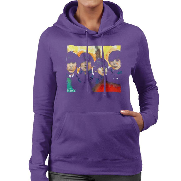 Sidney Maurer Original Portrait Of The Beatles Bowl Cuts Womens Hooded Sweatshirt - Womens Hooded Sweatshirt