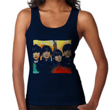 Sidney Maurer Original Portrait Of The Beatles Bowl Cuts Womens Vest - Small / Navy Blue - Womens Vest