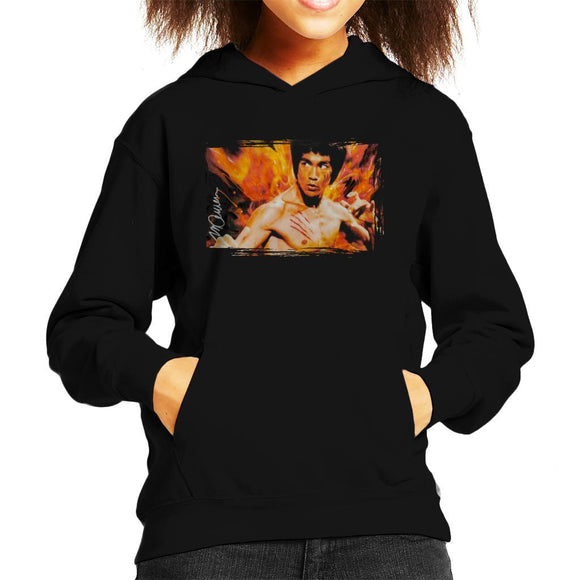 Sidney Maurer Original Portrait Of Bruce Lee Flames Enter The Dragon Kids Hooded Sweatshirt - Kids Boys Hooded Sweatshirt