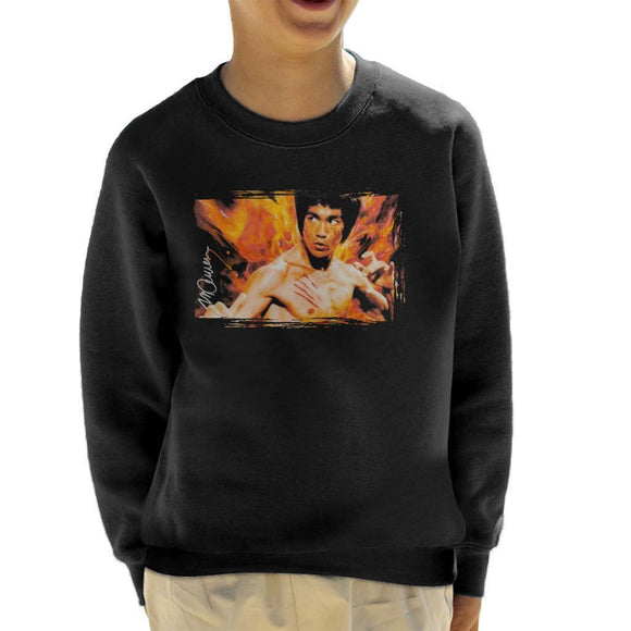 Sidney Maurer Original Portrait Of Bruce Lee Flames Enter The Dragon Kids Sweatshirt - Kids Boys Sweatshirt