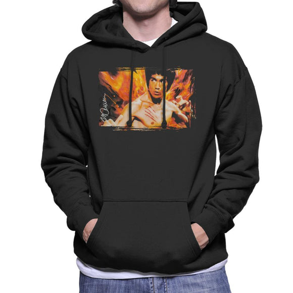 Sidney Maurer Original Portrait Of Bruce Lee Flames Enter The Dragon Mens Hooded Sweatshirt - Mens Hooded Sweatshirt