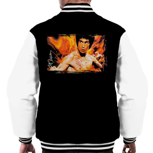 Sidney Maurer Original Portrait Of Bruce Lee Flames Enter The Dragon Mens Varsity Jacket - Mens Varsity Jacket