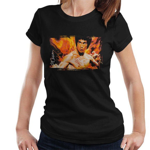 Sidney Maurer Original Portrait Of Bruce Lee Flames Enter The Dragon Womens T-Shirt - Womens T-Shirt