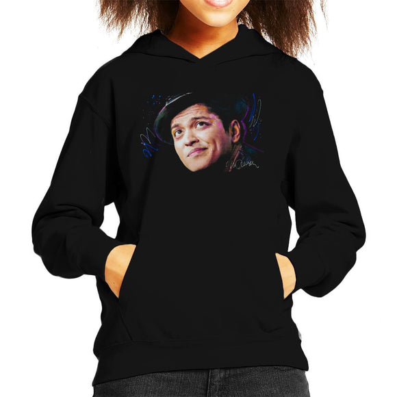 Sidney Maurer Original Portrait Of Bruno Mars Hat Kids Hooded Sweatshirt - Kids Boys Hooded Sweatshirt