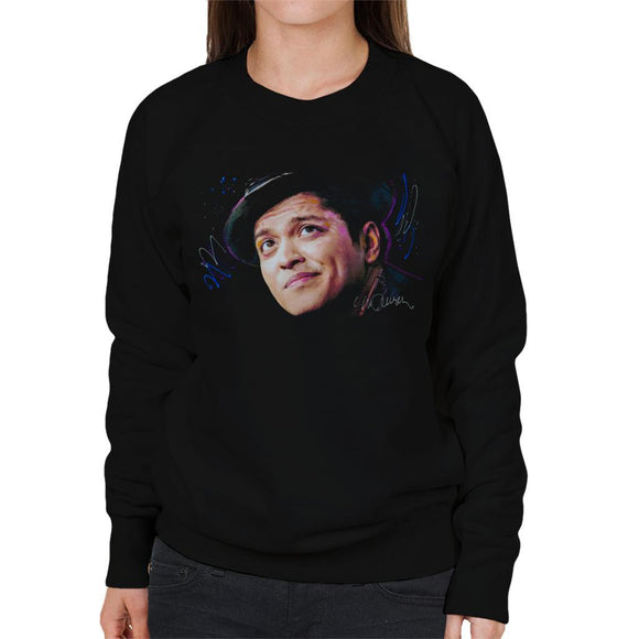 Sidney Maurer Original Portrait Of Bruno Mars Hat Womens Sweatshirt - Womens Sweatshirt