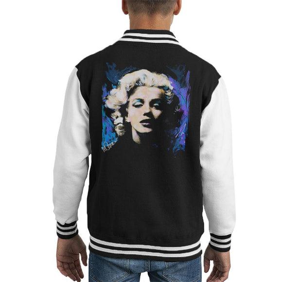 Sidney Maurer Original Portrait Of Marilyn Monroe Short Curls Kids Varsity Jacket - Kids Boys Varsity Jacket