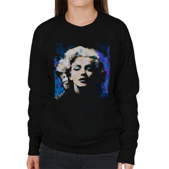 Sidney Maurer Original Portrait Of Marilyn Monroe Short Curls Womens Sweatshirt - Womens Sweatshirt