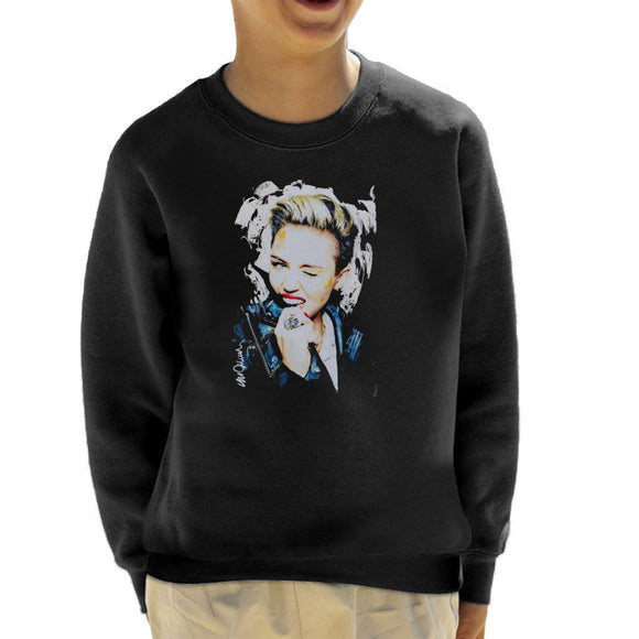 Sidney Maurer Original Portrait Of Miley Cyrus Biting Collar Kids Sweatshirt - Kids Boys Sweatshirt