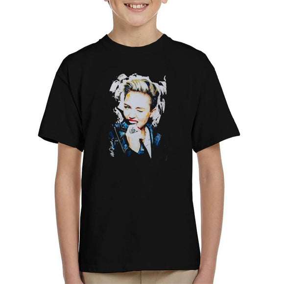 Sidney Maurer Original Portrait Of Miley Cyrus Biting Collar Kids T-Shirt - Kids Boys T-Shirt