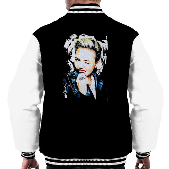 Sidney Maurer Original Portrait Of Miley Cyrus Biting Collar Mens Varsity Jacket - Mens Varsity Jacket