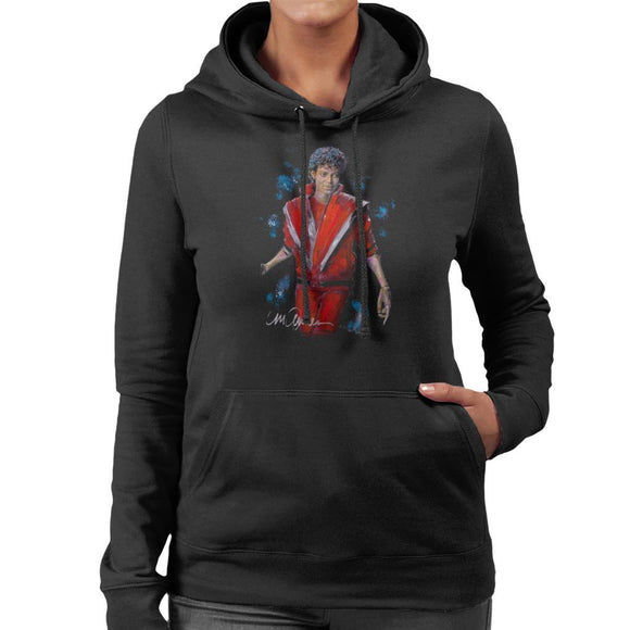 Sidney Maurer Original Portrait Of Michael Jackson Thriller Womens Hooded Sweatshirt - Womens Hooded Sweatshirt