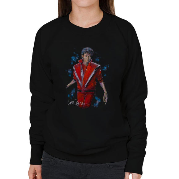 Sidney Maurer Original Portrait Of Michael Jackson Thriller Womens Sweatshirt - Womens Sweatshirt
